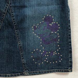 Disney Denim Jean Mickey Minnie Mouse Skirt